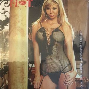 Fishnet and lace bustier set